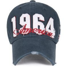 3b29b95e16f ililily Vintage Distressed 1964 America Logo Adjustable Hat Baseball...  ( 14) ❤ liked on Polyvore featuring accessories