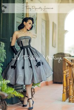 Vintage 1950s Dress Retro elegant inspired..-1950s prom dress by TDJasmine