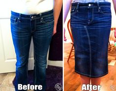 Jean Pencil Skirt: Free Tutorial. Step-by-step instructions on how to make jean pencil skirt from a pair of jeans.