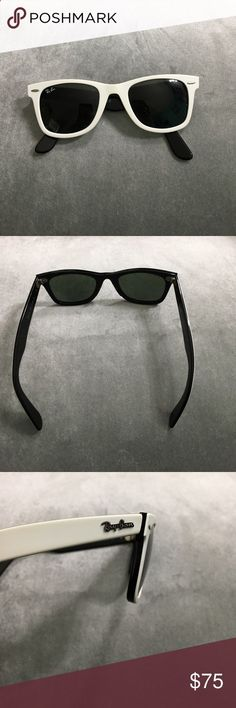 Ray ban wayfarers White on the outside and black on the inside Ray Ban Sunglasses, hardly worn wayfarers. Ray-Ban Accessories Sunglasses