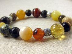 Yellow Beaded Bracelet  Autumn Fall Fashion Stone Stretch Mustard Agate. $32.00, via Etsy.
