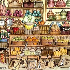 Grocery store #eriy #romanticcountrycoloringbook #romanticcountry…
