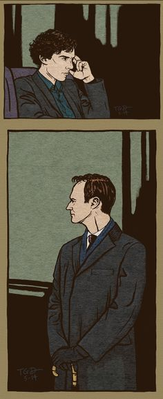 Sherlock and Mycroft by amisplacedlonelyheartsad. // Based on the style of Frederic Dorr Steele.