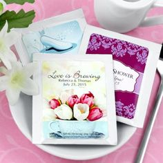 "Bridal Shower Tea Bag Favors - ""Love is Brewing"" or ""The Perfect Blend"""