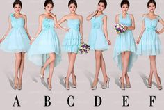 Light blue bridesmaid dress blue bridesmaid dress by okbridal, $109.00 I really like E. I would make it longer by giving them a knee-length skirt or slip and a shawl or wrap in my other wedding color.