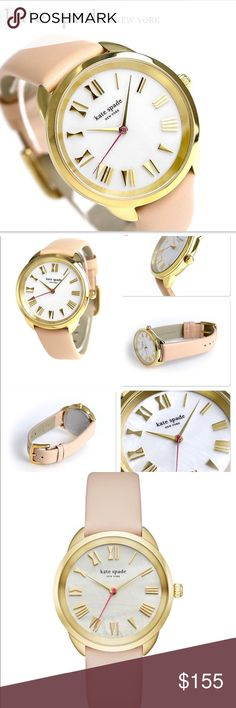 Kate Spade Vachetta Leather Mother of Pearl Watch New! Kate Spade Vachetta Leather Mother of Pearl Watch • Brand new with tags in original box. Genuine leather band in buff / pink / nude / brown / neutral with gold Roman numeral bows for numbers. Gold tone hardware + mother of pearl face. Kate Spade Accessories Watches