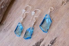 Silver Earring Pendant Set made with Sky Blue Swarovski Crystals and Sterling Silver OOAK design CreativeWorkStudios Silver Earrings, Drop Earrings, Bubble Envelopes, Rectangle Shape, Pendant Set, Swarovski Crystals, Sky, Sterling Silver, Chain
