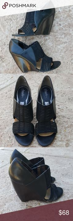 """Charles David Black BoHo Wedges 8 Fabulous wedges from Charles by Charles David size 8. Tightly woven straps at vamp. Slip on atyle. Substantial molded wooden wedge heels measure 4.5"""" high. Charles David Shoes Wedges"""