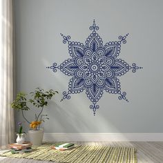 Wall Decal Mandala Vinyl Sticker- Mandala Vinyl Decal Morrocan Boho Bohemian Bedroom Decor- Indian M - Pin Coffee Mandala Drawing, Mandala Art, Vinyl Wall Decals, Wall Stickers, Sticker Vinyl, Yoga Studio Decor, Indian Mandala, Bohemian Bedroom Decor, Mandala Design