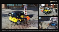"""Cannes Lions 2010 - Ambient for the Smart car. Strategy: """"The Smart car is the ultimate city vehicle. Only bicycles rival them for urban versatility."""" The campaign involved creating oversized bike locks and locking Smart cars in major Canadian cities."""
