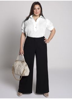 Plus size white wide leg linen pants