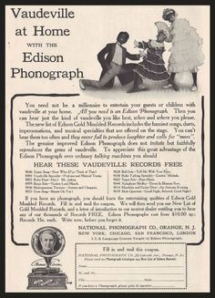 "1905 Edison Phonograph Ad - ""Vaudeville at Home"""
