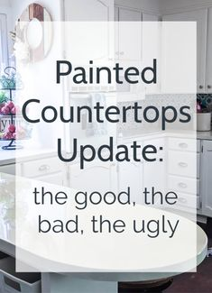 Three years after painting my laminate countertops, I'm sharing a full update on how they have held up. Including all the good, the bad, and what I would do differently if I were doing it all over. Spray Paint Countertops, Painting Laminate Countertops, Refinish Countertops, Countertop Makeover, Painting Kitchen Cabinets, Kitchen Paint, Kitchen Redo, Kitchen Ideas, Kitchen Counters