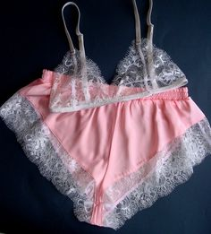 "blossombodystudio: "" You are buying: bralette and shorts Lingerie set made from lace and satin. Sewed from elastic pink satin and white lace. All metal details are in silver color. ""must-have"" item for your. Lingerie Satin, Lingerie Look, White Lingerie, Luxury Lingerie, Lingerie Sleepwear, Nightwear, Lingerie Models, Rosa Satin, Pink Satin"