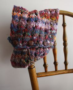 Hand spun wool knitted scarf  By Hill and Vale Designs