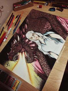 Daenerys Targaryen and Drogon fanart of Game Of Thrones #GOT by @NubiaEmDetalhes