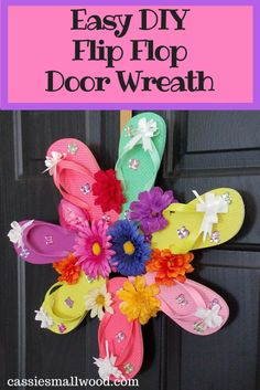 See how easy it is  to make this flip flop door wreath! It's a great summer craft for kids and adults. Greet your guests in style at your front door with this sweet summer door decor for your home!