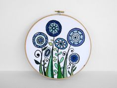 Blue and Green Embroidered Flowers   Flickr - Photo Sharing! Sarah Hennessey