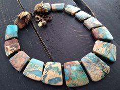 Natural Stone Necklace Serpentine Beaded by KarenTylerDesigns