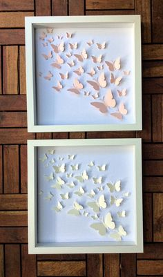Wall Art Set of 2 wall Art Butterfly Wall Art Art Mural 3d, 3d Wall Art, Wall Art Sets, Wall Painting Decor, Kids Room Wall Art, Framed Artwork, Butterfly Wall Art, Paper Butterflies, White Butterfly