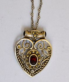 Art Deco Heart Pendant Garnet Sterling Silver by ESTATENOW on Etsy,