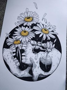 Pushing Up Daisies Art print by We Are All Corrupted Body Art Tattoos, Small Tattoos, Floral Skull Tattoos, One Word Tattoos, Ankle Tattoo Small, White Tattoos, Makeup Tattoos, Ankle Tattoos, Tiny Tattoo