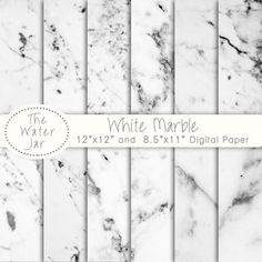 Marble digital paper White marble wallpaper by TheWaterJar on Etsy