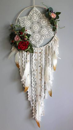 Dream catcher, Baby dream catcher, personalized dream catcher, flower dream catcher, lace dream catcher, romantic dream catcher, boho