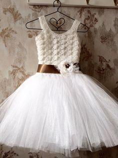 White flower girl tutu dress, girls tutu dress, crochet tutu dress, corset tutu, custom made tutu, toddler tutu dress, baby tutu dress by Qt2t on Etsy https://www.etsy.com/listing/211681217/white-flower-girl-tutu-dress-girls-tutu