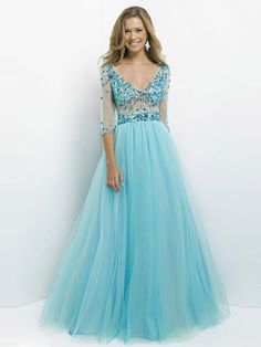 A-Line/Princess 3/4 Sleeves V-neck Tulle Floor-Length Beading Dresses