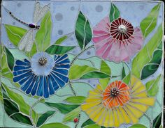 Stained Glass Garden Mosaic one of a kind  wall art by apomps
