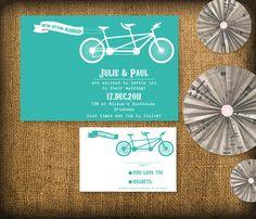 Tandem Bicycle Wedding Invitation DIY Set (printable) - Invitation & Response/RSVP. $25.00, via Etsy.