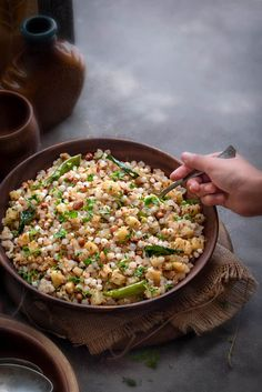 Learn here how to make sabudana khichdi recipe step by step. Sabudana ki khichdi is a popular traditional Indian dish made using sago (tapioca) pearls during fast or vrat in Navratri season or as a breakfast or as a snacks in regular days. Veg Recipes, Kitchen Recipes, Side Dish Recipes, Indian Food Recipes, Cooking Recipes, Healthy Recipes, Snacks Recipes, Recipes Dinner, Healthy Indian Snacks
