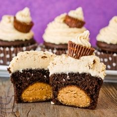 A Buckeye style peanut butter ball is added to a chocolate cupcake which is topped with PB buttercream.  Delish!