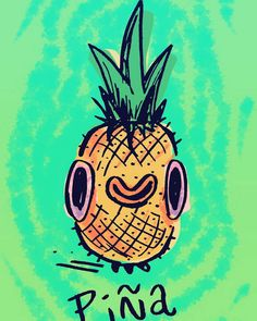La Piña.  #  #piña #pineapple #365SketchChallenge #sketchbook #drawingoftheday #illustration #fruit #colorful #cute #kawaii #happyfruit February 03 2016 at 06:31PM