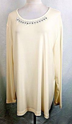 13fad928f59 Southern Lady Women Plus Size 1X 2X 3X Off White Creme Egret Shirt Top  Blouse