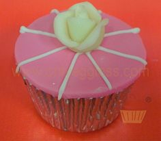 C995- Pink & White Stripe White Flower Cupcake - Premium Cupcakes - Egg Free Cupcakes from Only Eggless