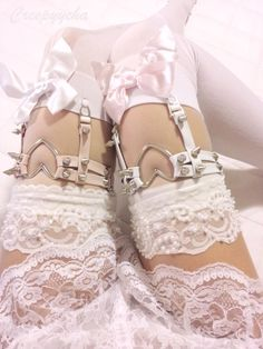pink, lace, spiked, heart, garters