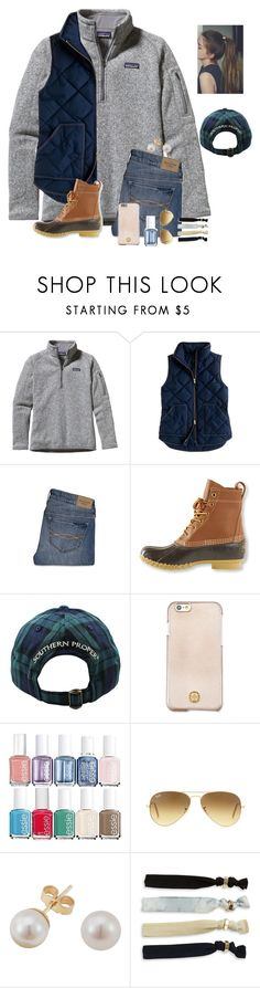 """Question of the day #18"" by raquate1232 ❤ liked on Polyvore featuring Patagonia, J.Crew, Abercrombie & Fitch, L.L.Bean, Southern Proper, Tory Burch, Essie, Ray-Ban, EWA and Robert Rose"