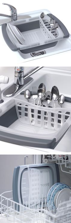 Collapsible Over-the-Sink Dish Drainer // saves space, dishwasher safe - clever! #product_design