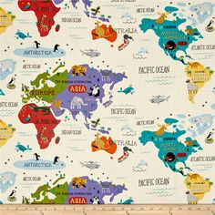 Designed by Abi Hall for Moda, this charming cotton print collection will transport you all over the world, continents and oceans alike! Perfect for your little traveler, in nurseries, quilts, apparel, and home decor uses. Colors include cream, turquoise, red, blue, purple, yellow, black, brown, and grey.