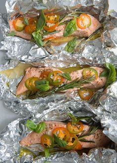 """Salmon With Rosemary And Garlic from """"Michael Symon""""s 5 in 5: 5 Fresh Ingredients + 5 Minutes = 120 Fantastic Dinners"""" (KitchenDaily.com)"""