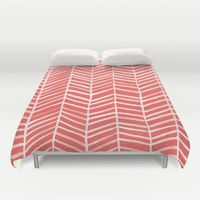Duvet Covers featuring Coral Herringbone by Cat Coquillette