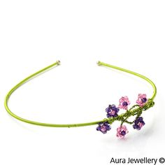 Pink Green Handcrafted Swarovski Crystal Wire Wrapped Floral Hair Band
