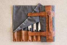 Full Give (Etsy) - knife roll Waxed canvas, leather, hardware $230 Features: separating spaces between knives to keep them from bumping into one another