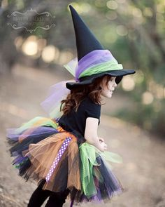 Cute witch costume, its an EASY DIY. Google no sew tutus and just do colors and bows similar and boom cheap and homemade =) kaliskreations