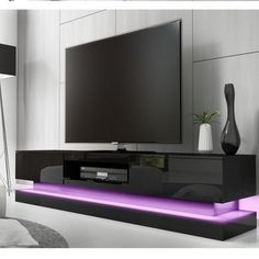 Evoque black high gloss tv unit with lower led lighting in entertainment center ideas 20 Black Gloss Tv Unit, High Gloss Tv Unit, Living Room Furniture, Furniture Sets, Tv Entertainment Stand, Diy Tv, Modern Tv, The Unit, Ikea