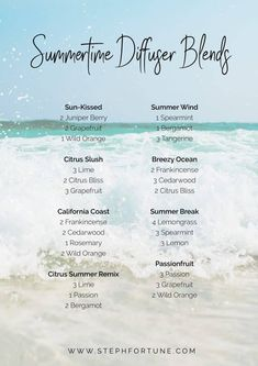 23 Summetime Diffuser Blends Picture of Ocean Waves and Summertime Essential Oil Diffuser Blends Essential Oil Diffuser Blends, Essential Oil Uses, Young Living Essential Oils, Doterra Oil Diffuser, Spearmint Essential Oil, Healing Oils, Aromatherapy Oils, Sup Yoga, Perfume