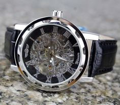 Man watch skeleton see thru front&back mechanical watch men