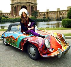 soundsof71: Janis Joplin with her Porsche convertible, San...